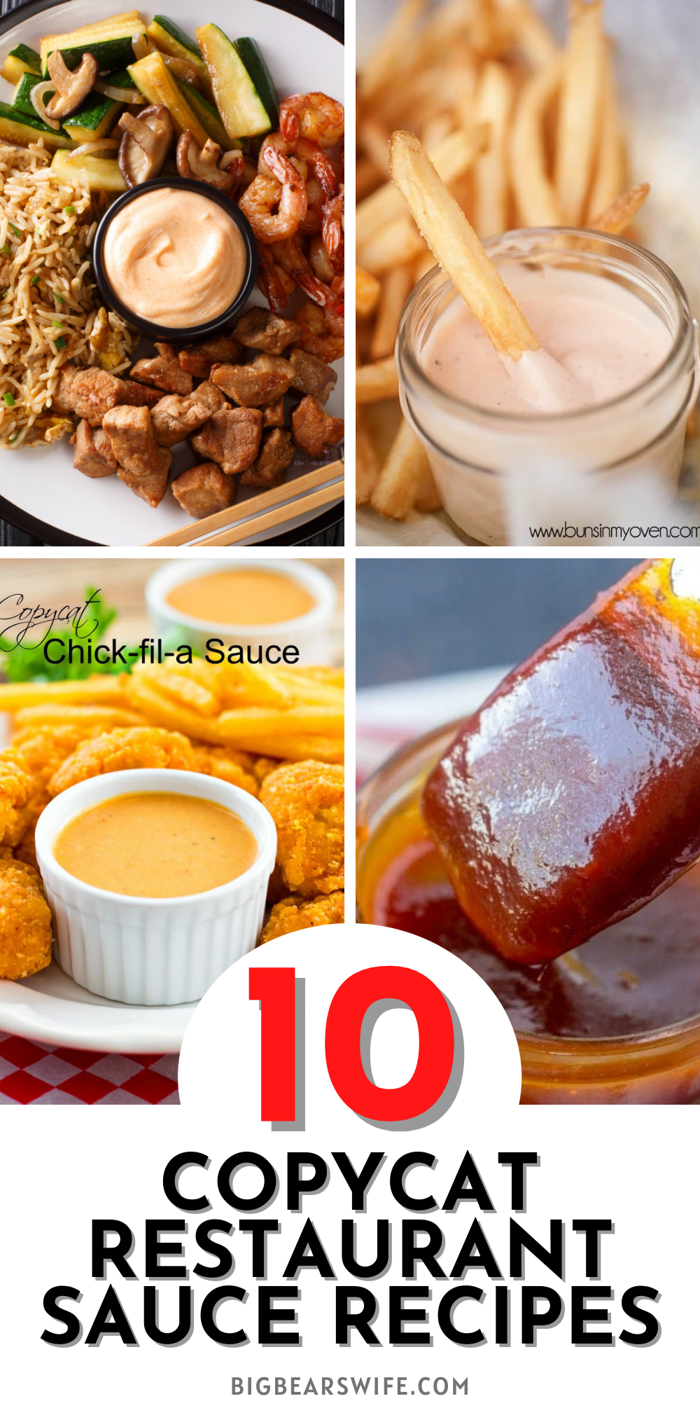 While we can't argue that a lot of restaurants are amazing, would we really love them as much if they didn't serve our favorite sauces? From Chick-Fil-A Sauce to dip our chicken nuggets in to Sauce on Big Macs; sauces at our favorite restaurants make our meals even more amazing and now you can make your favorite restaurant sauces at home with 10 of the best CopyCat Restaurant Sauce Recipes in this post!  via @bigbearswife