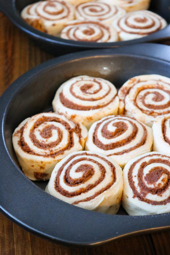 Unbaked Cinnamon Rolls in Pan