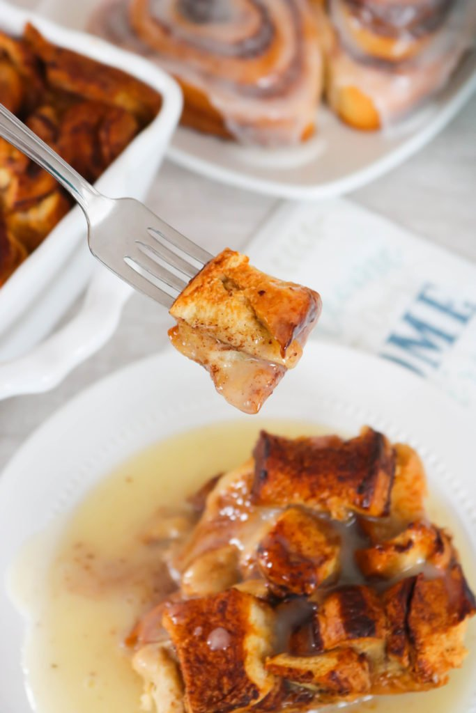 A bite of Cinnamon Roll Bread Pudding