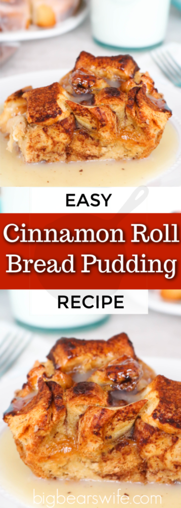 Cinnamon Roll Bread Pudding - Create an indulgent treat by replacing traditional french bread with cinnamon rolls in this Cinnamon Roll Bread Pudding. Warm, gooey, cinnamon roll goodness is taken over the top with the addition of vanilla custard and a cinnamon infused glaze.