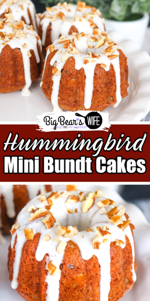 Hummingbird Mini Bundt Cakes - Stuffed with bananas, pecans, and pineapple these Hummingbird Mini Bundt Cakes make for a wonderful Easter dessert, a church potluck or Mother's Day brunch. This southern classic has been turned into divine individual dessert with a mini bundt pan.