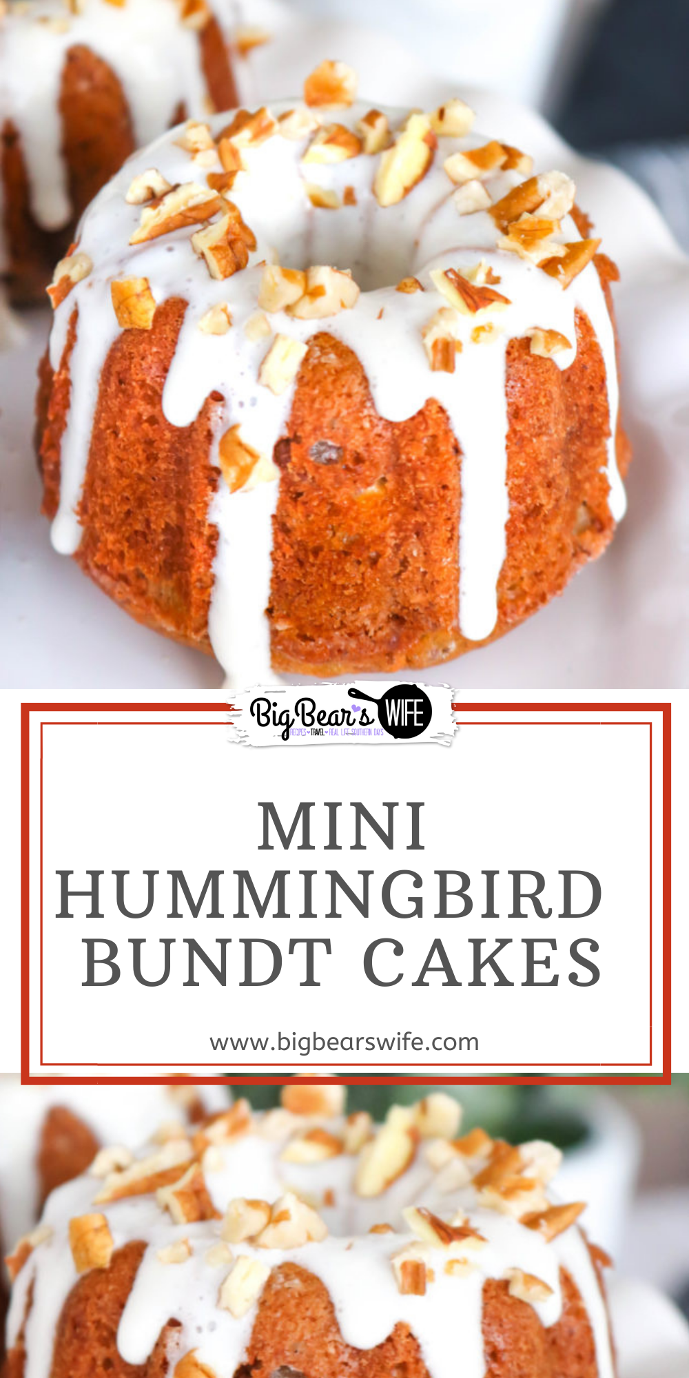 Stuffed with bananas, pecans, and pineapple these Hummingbird Mini Bundt Cakes make for a wonderful Easter dessert, a church potluck or Mother's Day brunch. This southern classic has been turned into divine individual dessert with a mini bundt pan. via @bigbearswife