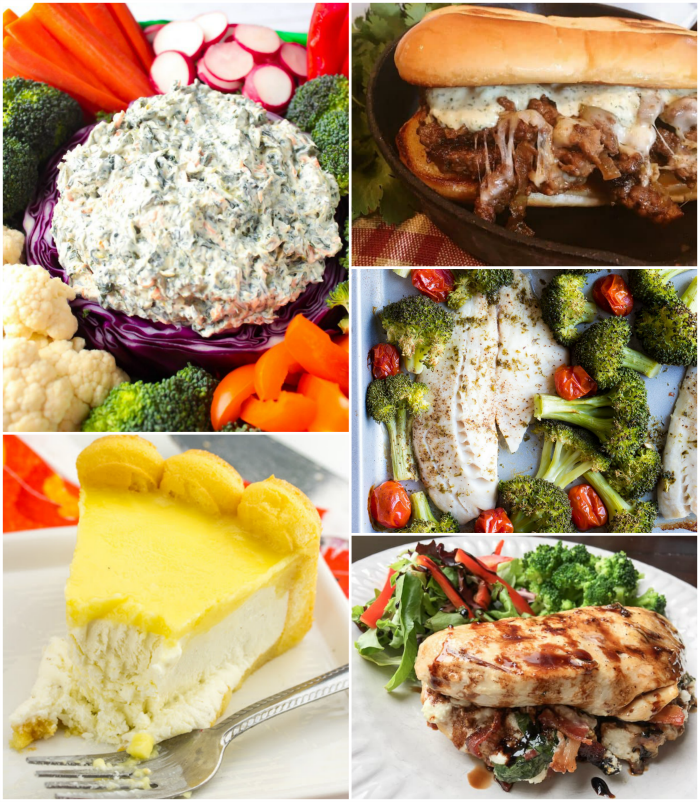 Meal Plan Monday featured recipe collage of Pepper Jack Steak Sandwiches, Tilapia and Broccoli Sheet Pan Meals, Stuffed Chicken Breasts, No Bake Cheesecake recipes and Spinach Dip