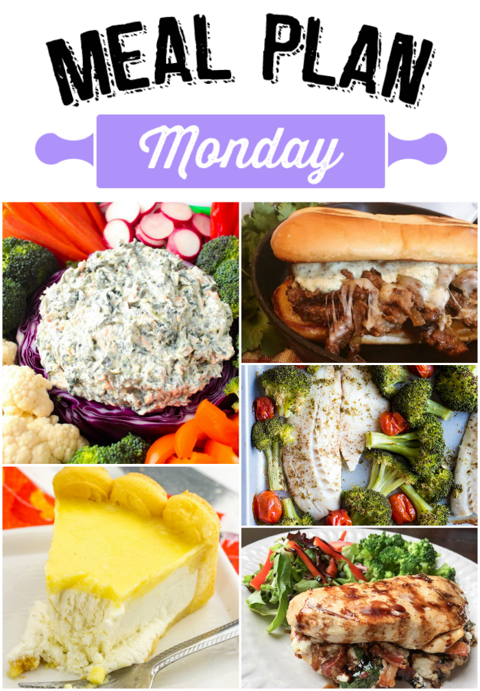 Ready for some tasty recipes for the week? Meal Plan Monday 155 has you covered! We've got Pepper Jack Steak Sandwiches, Tilapia and Broccoli Sheet Pan Meals,  Stuffed Chicken Breasts, No Bake Cheesecake recipes and Spinach Dip for you this week! via @bigbearswife