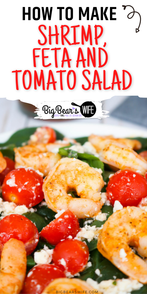 Salads don't have to be boring nor do they needs to be loaded down with tons of fatty dressings to be tasty! This Shrimp Feta and Tomato Salad is full of seasoned shrimp, feta cheese, fresh tomatoes and dressed with a wonderful light dressing!