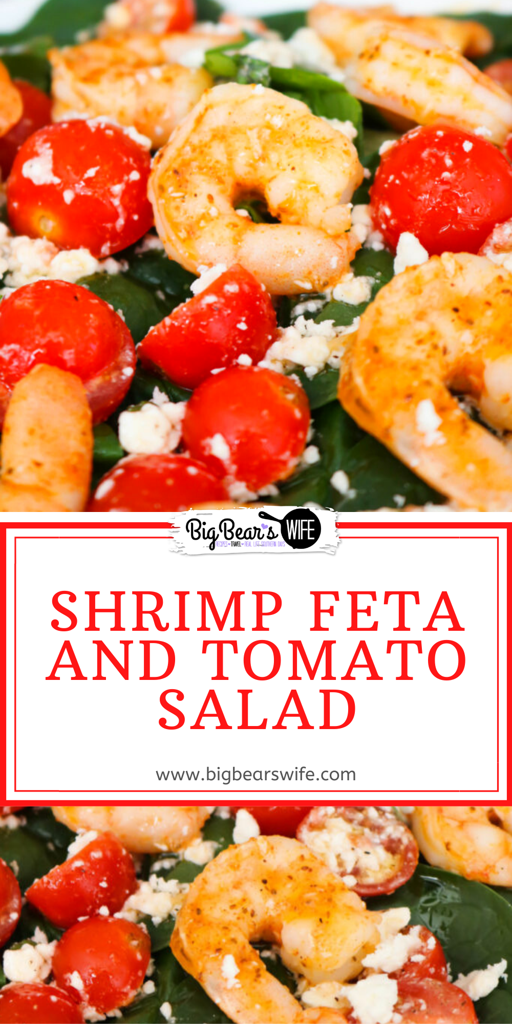 Salads don't have to be boring nor do they needs to be loaded down with tons of fatty dressings to be tasty! This Shrimp Feta and Tomato Salad is full of seasoned shrimp, feta cheese, fresh tomatoes and dressed with a wonderful light dressing! via @bigbearswife