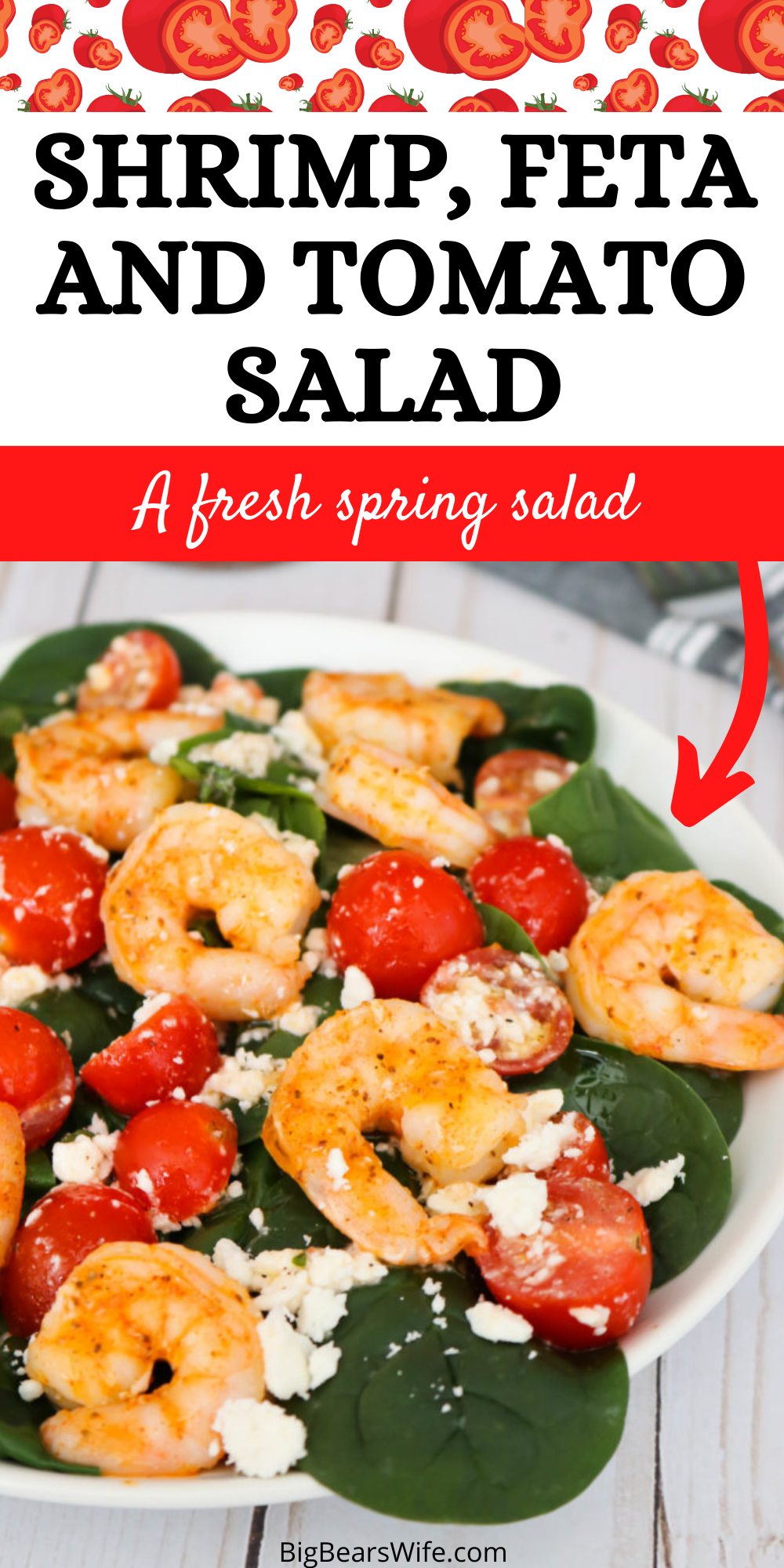 Shrimp Feta and Tomato Salad - Salads don't have to be boring nor do they needs to be loaded down with tons of fatty dressings to be tasty! This Shrimp Feta and Tomato Salad is full of seasoned shrimp, feta cheese, fresh tomatoes and dressed with a wonderful light dressing! via @bigbearswife