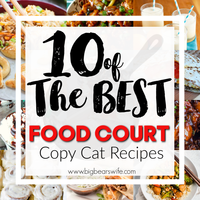 If you've ever stopped by a Mall Food Court you've probably had a sample or fell in love with one of the many options wrapping around court! This post is dedicated to 10 of the best Food Court CopyCat Recipes!