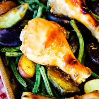 Apricot Glazed Drumsticks Sheet Pan Meal
