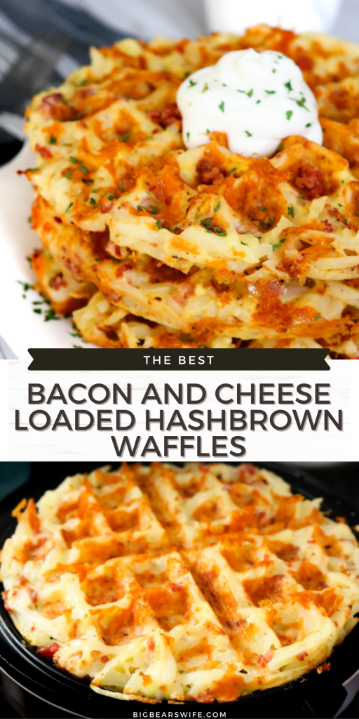These Bacon and Cheese Loaded Hashbrown Waffles are packed with shredded hashbrowns, eggs, bacon and shredded cheese for the ultimatebrunch entree!