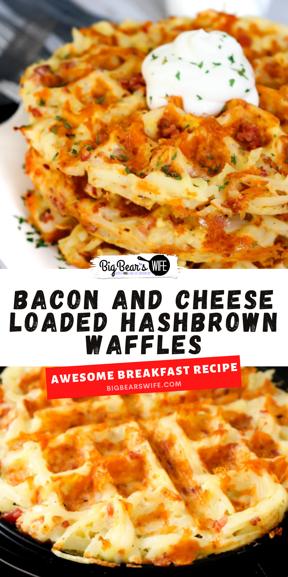 These Bacon and Cheese Loaded Hashbrown Waffles are packed with shredded hashbrowns, eggs, bacon and shredded cheese for the ultimatebrunch entree! via @bigbearswife