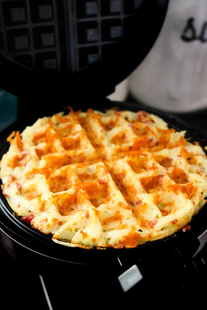 Bacon and Cheese Loaded Hashbrown Waffles