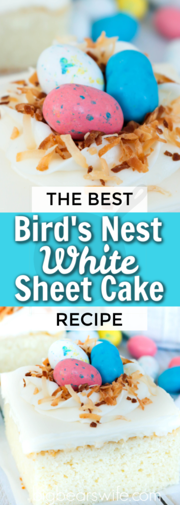 Bird's Nest White Sheet Cake - Hosting Easter dinner or Mother's day brunch? Making a cake for Sunday's Church Potluck or a baby shower? This quick and easy Bird's Nest White Sheet Cake is just what you need! This semi-homemade recipe starts with a box cake mix which we top with a homemade white frosting and decorate with a simple bird nest made of icing and toasted coconut and Robin  Egg candies.