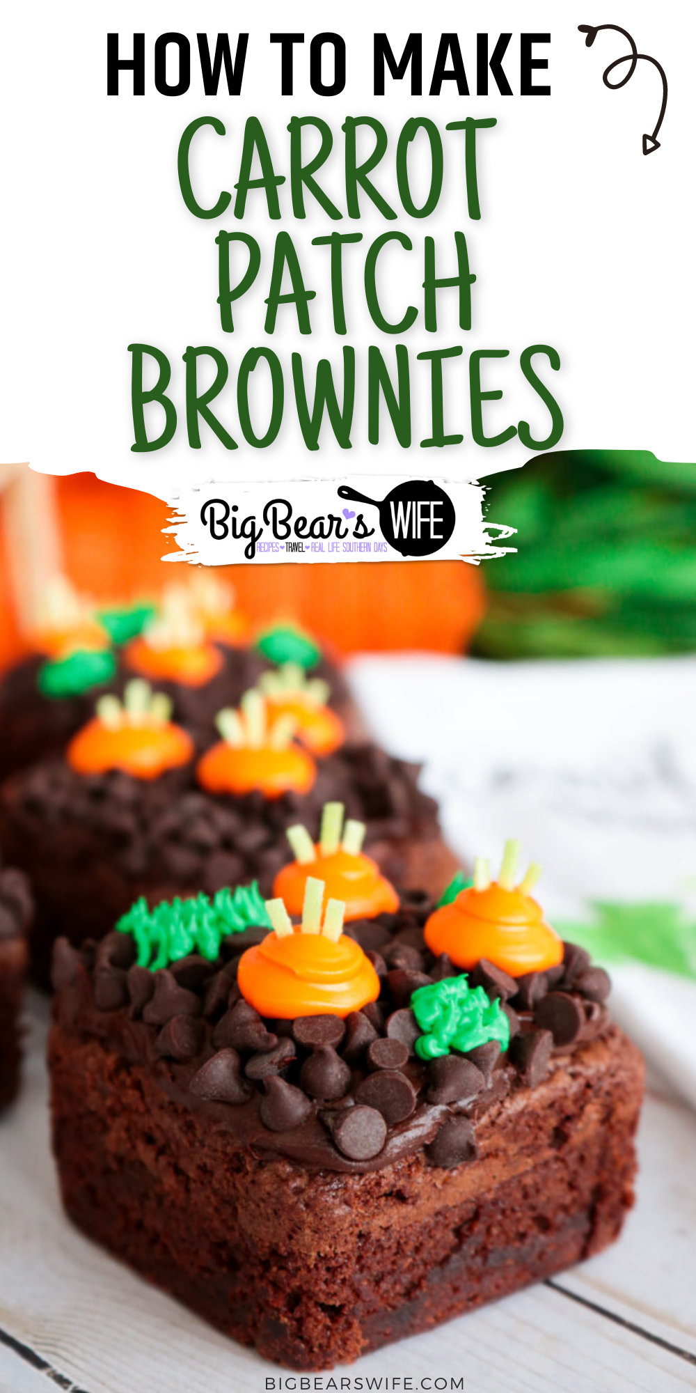 The Easter Bunny will be hopping around the corner any day now and he will love getting to snack on a few carrots from these Carrot Patch Brownies! They're easy to decorate and would look super cute as the sweet treat for any Easter or Spring time meal! via @bigbearswife