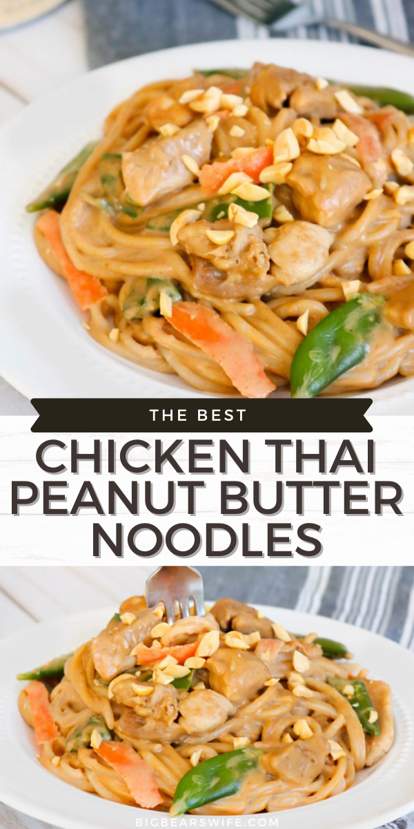 Chicken Thai Peanut Butter Noodles - These Chicken Thai Peanut Butter Noodles are perfect for a weeknight dinner! These tasty noodles are coated in a delicious peanut butter sauce and tossed together with chicken, sugar snap peas, carrot slices and brown rice noodles! It's easy to throw together but to make it even faster by using chopped rotisserie chicken in this recipe!