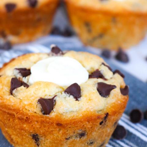 Chocolate Chip Cream Cheese Stuffed Muffins