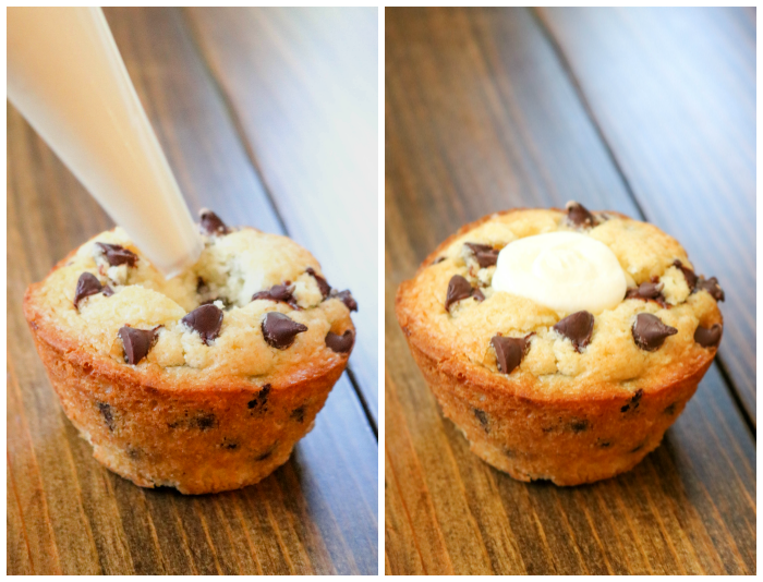 Filling Chocolate Chip Cream Cheese Stuffed Muffins with Cream Cheese