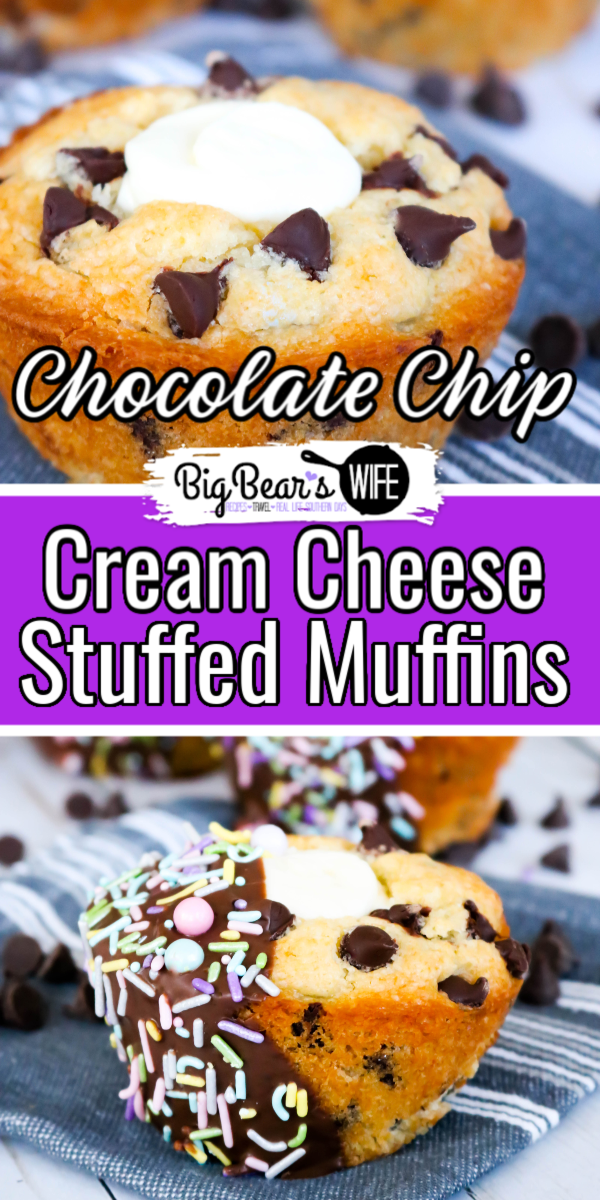 Chocolate Chip Cream Cheese Stuffed Muffins #BrunchWeek - These Chocolate Chip Cream Cheese Stuffed Muffins are huge, fluffy, packed with chocolate chips and filled with a super easy cream cheese filling!