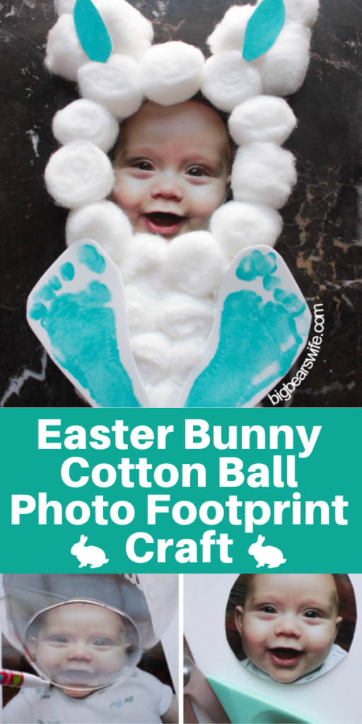 Easter Bunny Cotton Ball Photo Footprint Craft - This adorable Easter Bunny Cotton Ball Photo Footprint Craft turns your little one into the cutest Easter bunny on the block! It takes just a few items from the craft store, a picture and about 10 minutes to create.