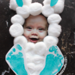 Easter Bunny Cotton Ball Photo Footprint Craft