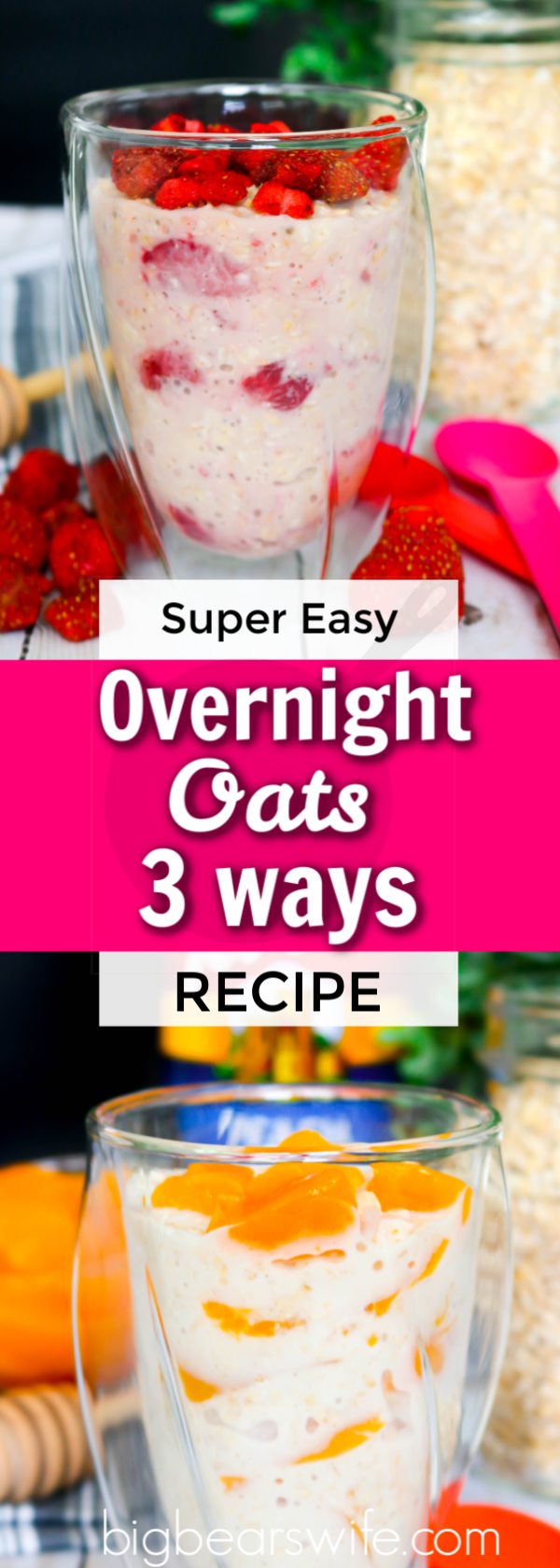 Looking for an easy breakfast or brunch idea? These overnight oats take about 5 minute to toss together and they're ready and waiting for you in the fridge when you wake up the next morning! Need variety? Good! You'll find Overnight Oats 3 Ways here!