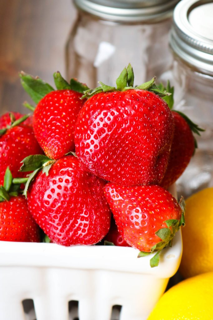 Strawberries in White Basket