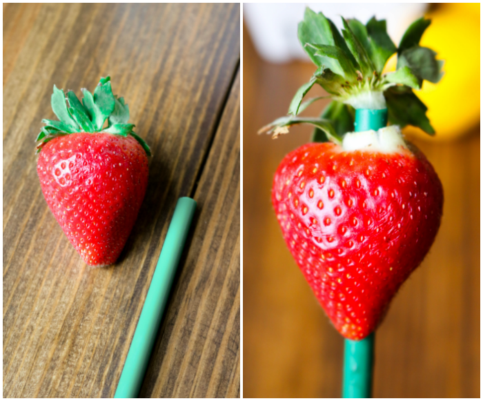 Hulling strawberry with a straw