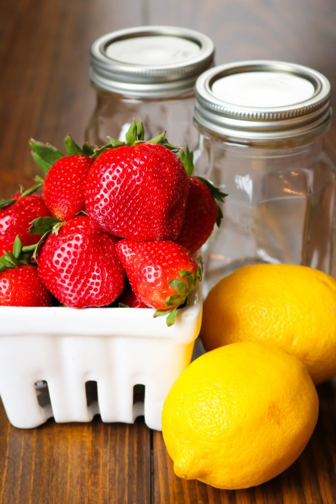 Strawberries and Lemons with Canning Jars