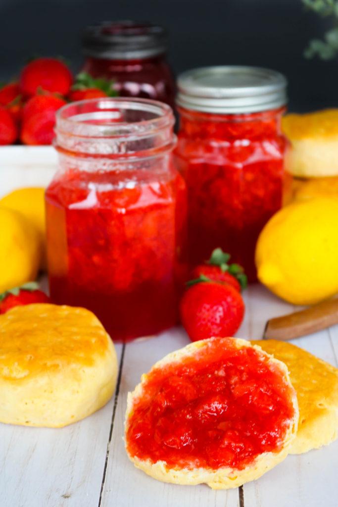 Strawberry Lemonade Jam on biscuit
