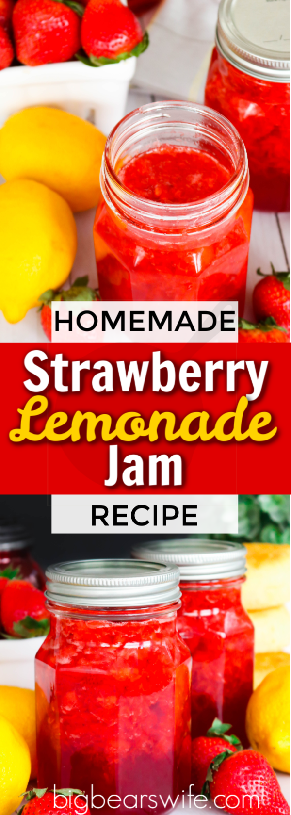 Strawberries and summer lemonade stands come together to create this delicious Strawberry Lemonade Jam. Tastes yummy on biscuits, in a peanut butter and jelly sandwich, or on toast.  Plus, there is no fancy canning equipment involved! Refrigerate for up to 3 weeks or freeze up to 1 year.