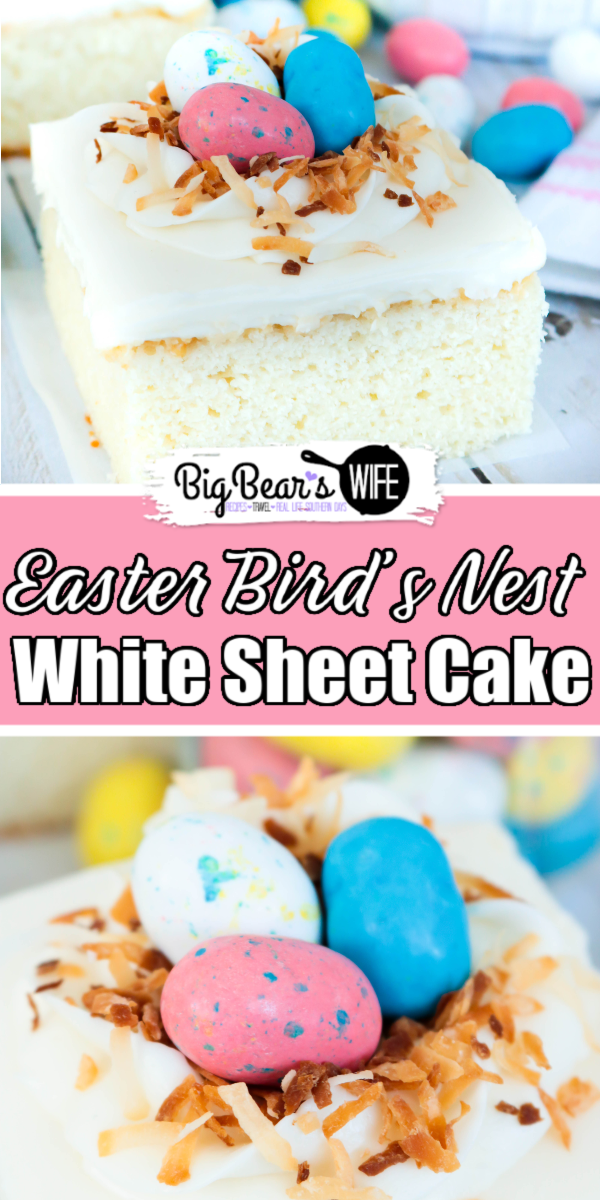 Hosting Easter dinner or Mother's day brunch? Making a cake for Sunday's Church Potluck or a baby shower? This quick and easy Bird's Nest White Sheet Cake is just what you need! This semi-homemade recipe starts with a box cake mix which we top with a homemade white frosting and decorate with a simple bird nest made of icing and toasted coconut and Robin Egg candies.