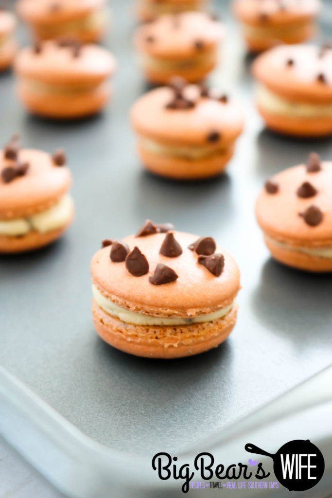 Chocolate Chip Macarons on baking tray