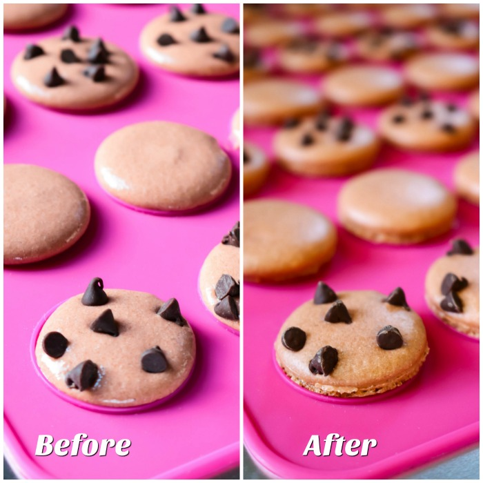 Before and After Baking Macarons