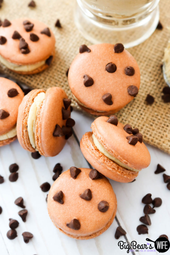 Chocolate Chip Macarons - These fun Chocolate Chip Macarons look like mini chocolate chip cookies and are filled with a homemade Chocolate Chip Cookie dough frosting filling!