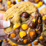 Chocolate Dipped English Toffee Peanut M&M Cookies