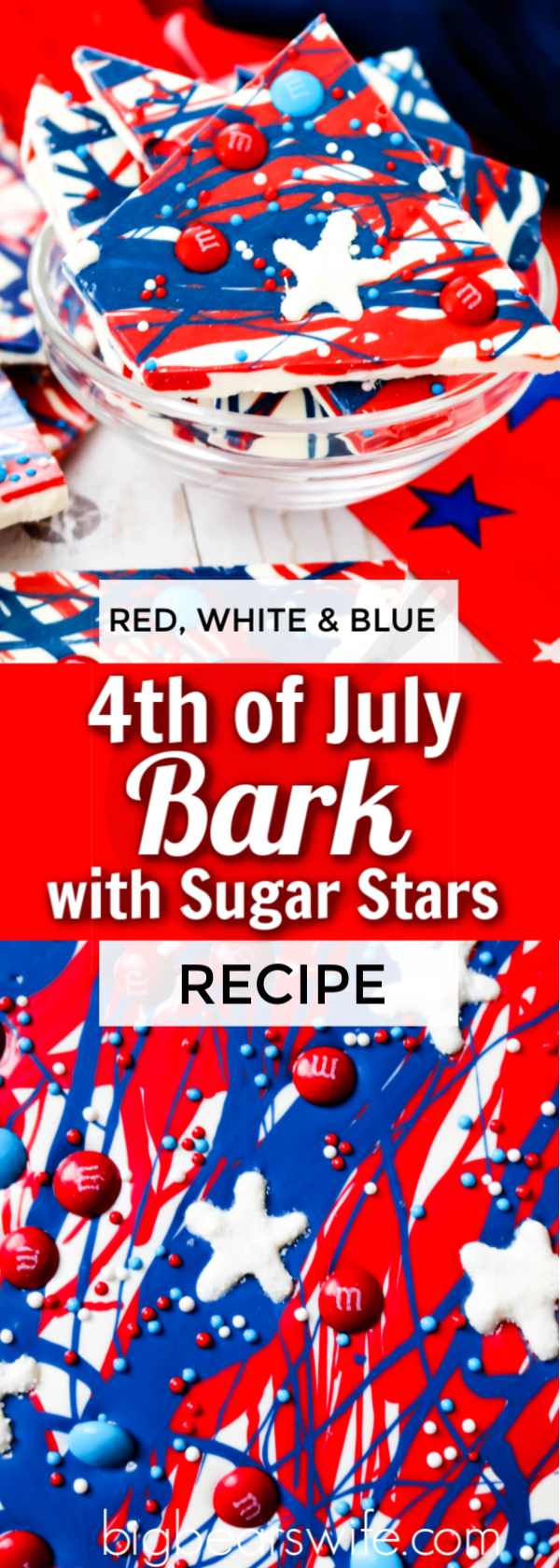 This festive Patriotic Bark with Sugar Stars is super easy to make and it's full of patriotic spirit. It's even topped with adorable homemade sugar stars! via @bigbearswife