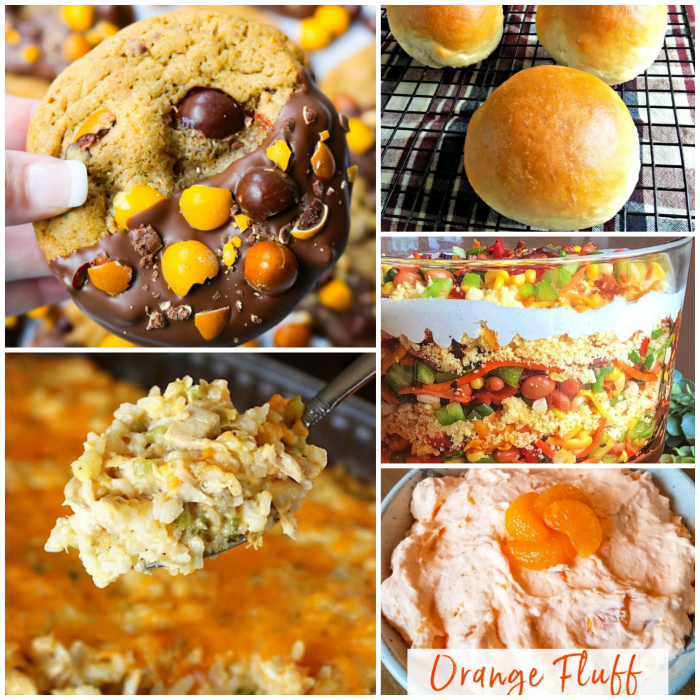 meal plan Monday collage with cookies, layered salad, rolls, casserole and orange fluff