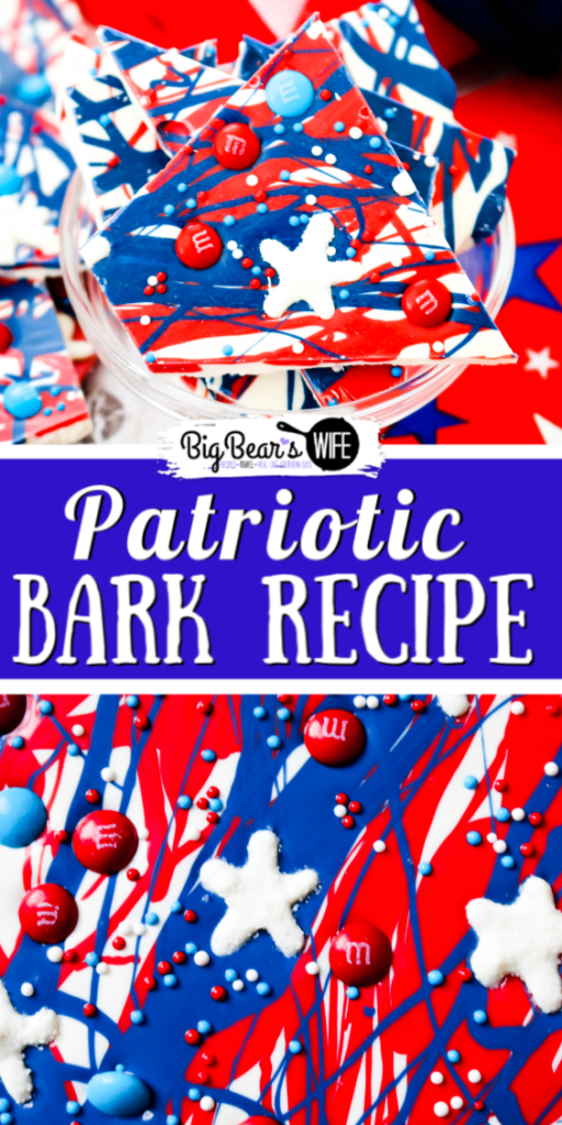 Patriotic Bark with Sugar Stars  - This festive Patriotic Bark with Sugar Stars is super easy to make and it's full of patriotic spirit. It's even topped with adorable homemade sugar stars! Great for Memorial Day Weekend, 4th of July or Veterans Day!
