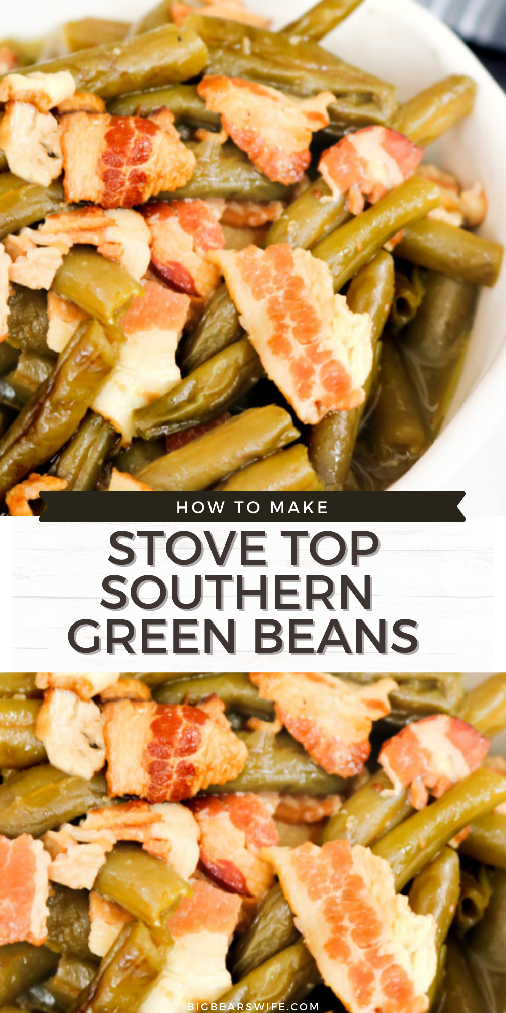 Stove Top Southern Green Beans - Stove Top Southern Green Beans are amazing and super easy to make! They're simmered all day long to create the most flavorful green beans ever!@bigbearswife via @bigbearswife