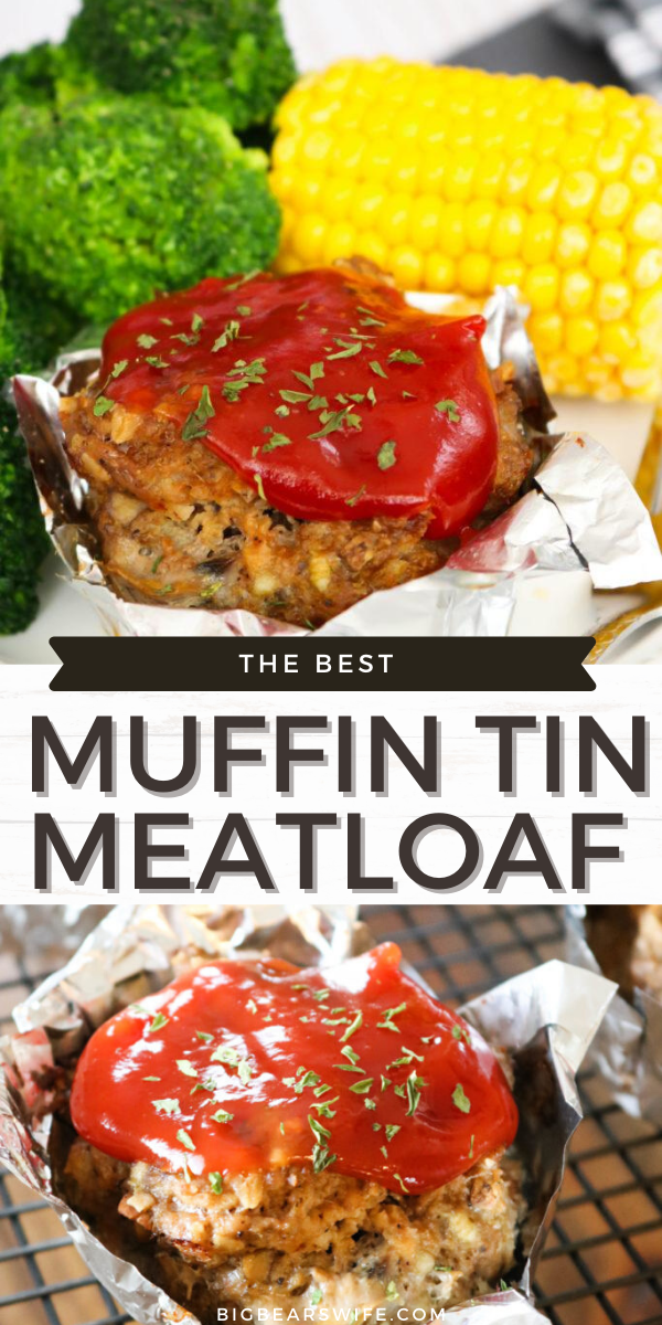 These Muffin Tin Mushroom Meatloaf muffins are not only tasty but they're healthy too! These meatloaves are made into perfect portions using a large muffin pan and contain a mixture of beef and turkey!  via @bigbearswife