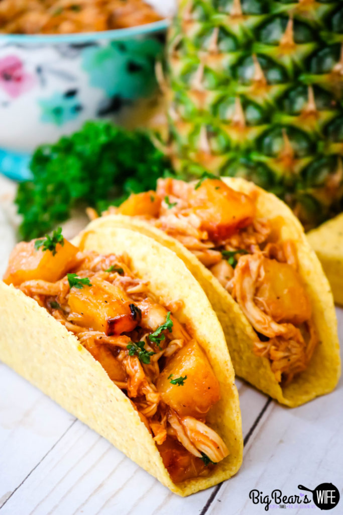 BBQ Pineapple Chicken Tacos - Easy Baked BBQ Pineapple Chicken makes fantastic BBQ Pineapple Chicken Tacos that are great for dinner any night of the week!