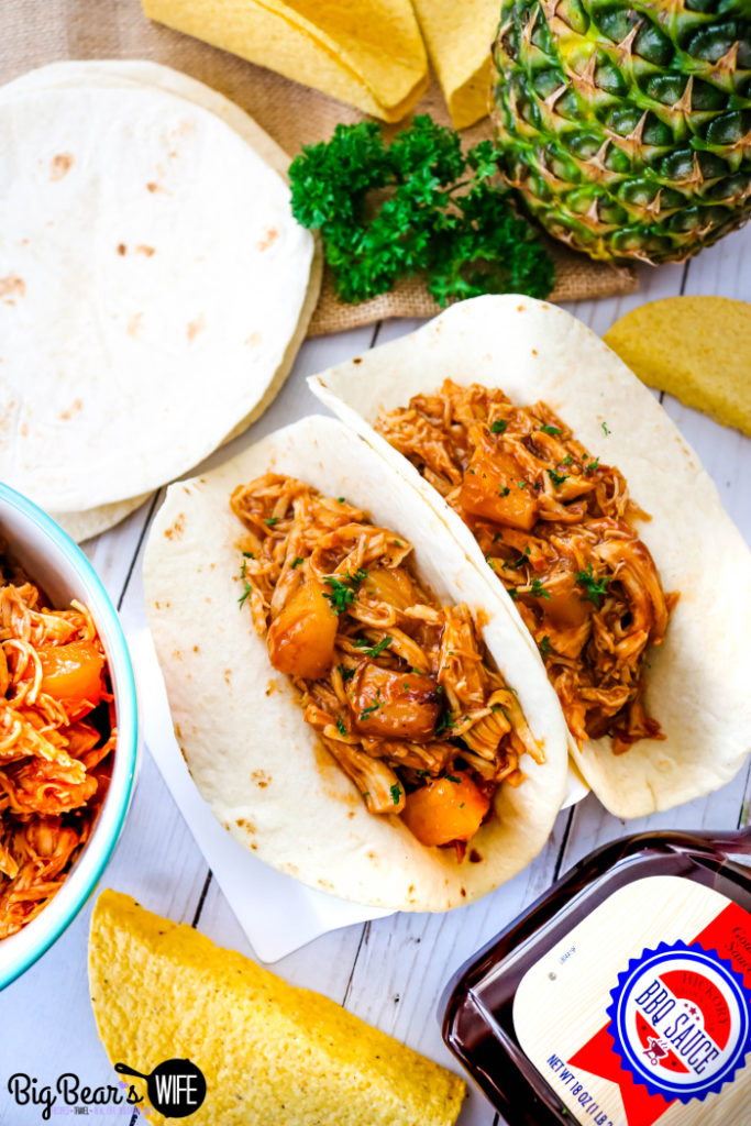 BBQ Pineapple Chicken Soft Tacos - BBQ Pineapple Chicken Tacos - Easy Baked BBQ Pineapple Chicken makes fantastic BBQ Pineapple Chicken Tacos that are great for dinner any night of the week!