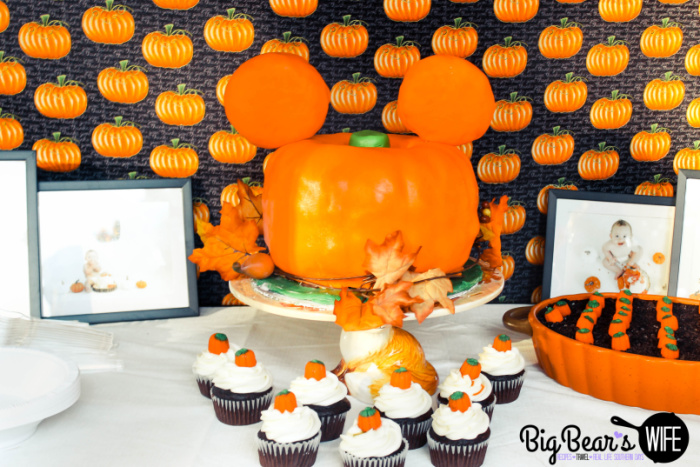 Mickey Pumpkin Cake and Dessert Table