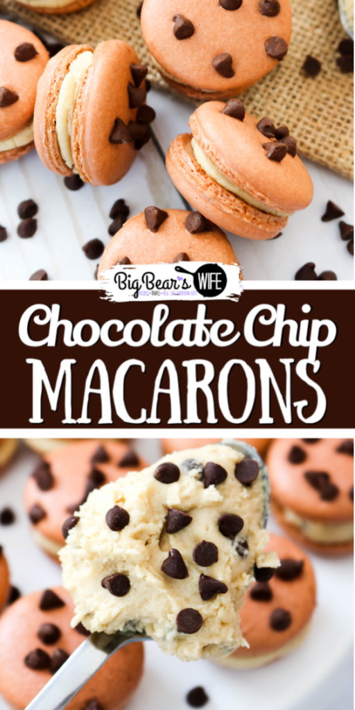 These fun Chocolate Chip Macarons look like mini chocolate chip cookies and are filled with a homemade Chocolate Chip Cookie dough frosting filling!