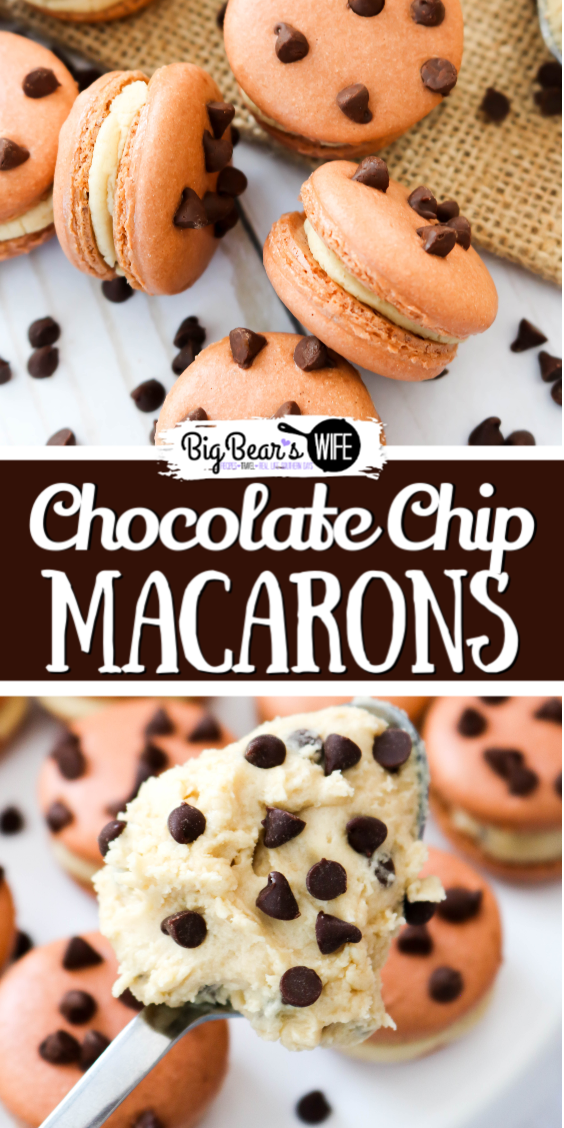 These fun Chocolate Chip Macarons look like mini chocolate chip cookies and are filled with a homemade Chocolate Chip Cookie dough frosting filling! via @bigbearswife