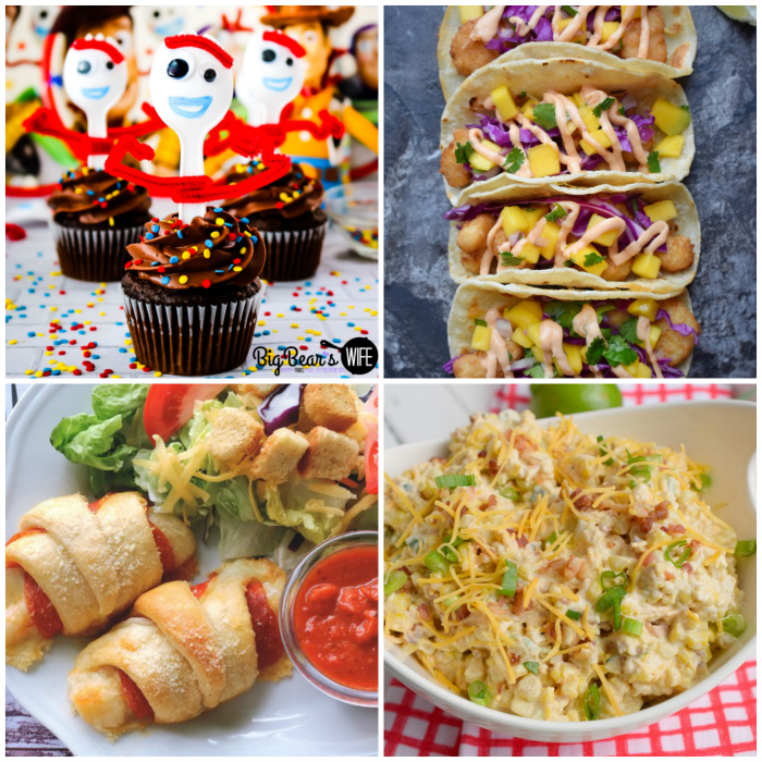 Meal Plan Monday collage of cupcakes, crescents, tacos, and salad