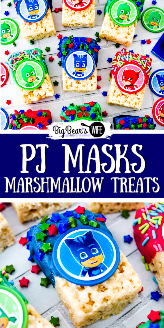 Catboy, Owlette andGekko are ready to save the day and make your little one smile with these PJ Masks Marshmallow Treats!