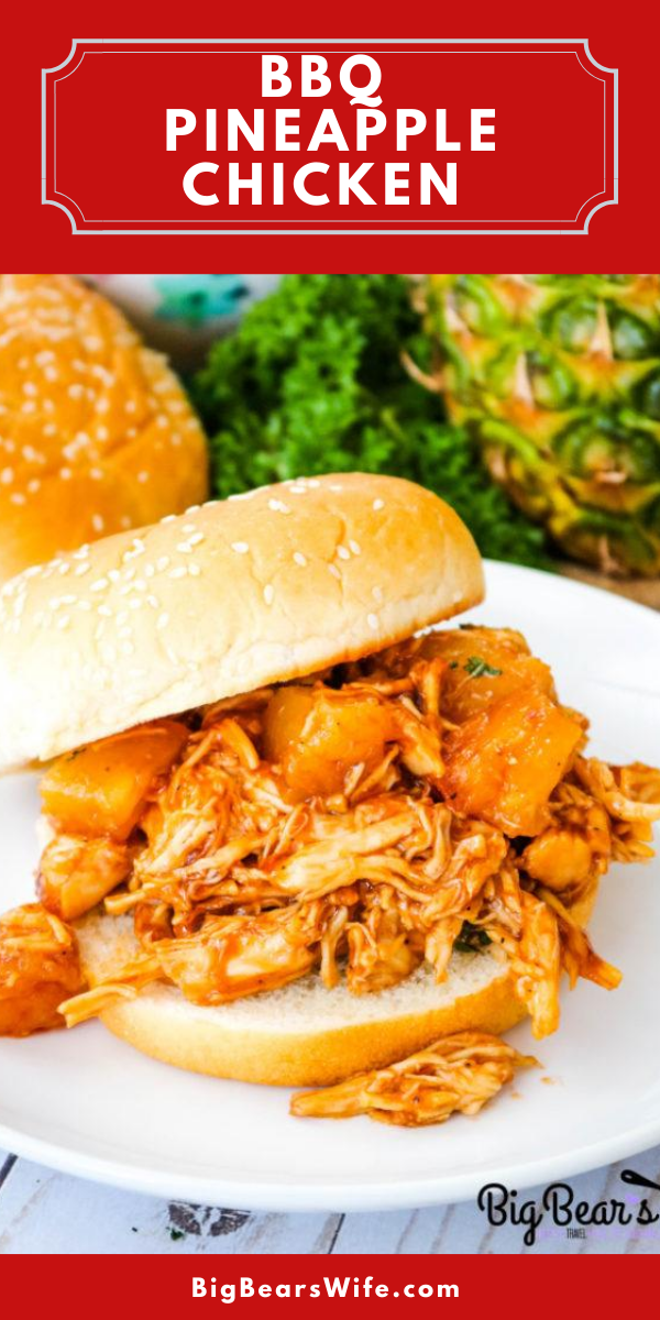 BBQ Pineapple Chicken Sandwiches - Craving Barbecue Chicken sandwiches? These BBQ Pineapple Chicken Sandwiches are sure to become a family favorite and they're super easy to make! via @bigbearswife