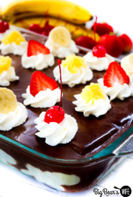 Banana Split Eclair Dessert with Banana Whipped Cream