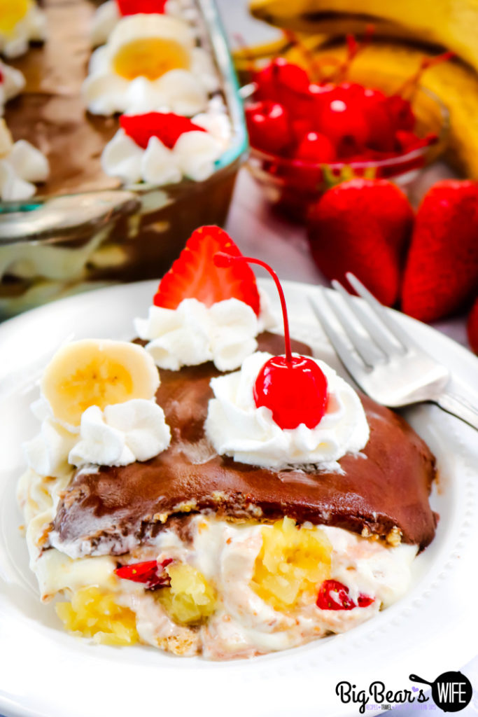 Layering a Banana Split Eclair Dessert with Banana Whipped Cream